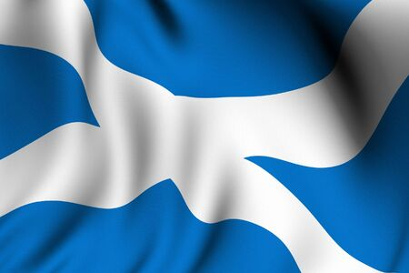 Rendering of a waving flag of Scotland with accurate colors and design.