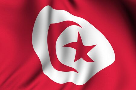 Rendering of a waving flag of Tunisia with accurate colors and design. Stock Photo - 3694830