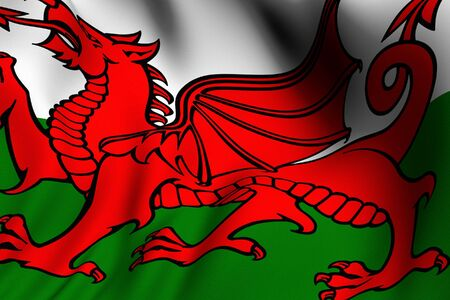 Rendering of a waving flag of Wales with accurate colors and design. Reklamní fotografie