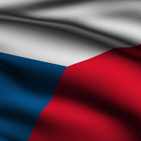 Rendering of a waving flag of the Czech Republic with accurate colors and design and a fabric texture in a square format. 版權商用圖片