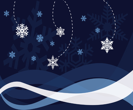 Abstract vector illustration of snowflakes in a winter theme. Ilustração