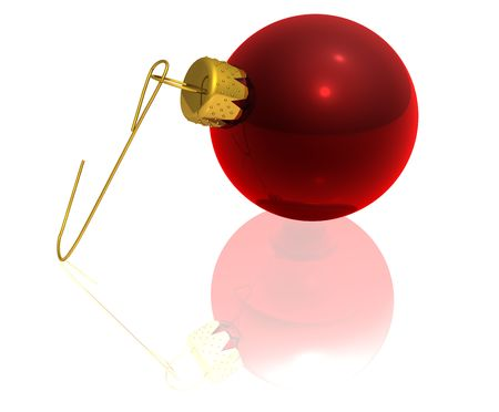 3d rendering of a red glass Christmas ornament with its hanger lying on a reflective white surface. photo