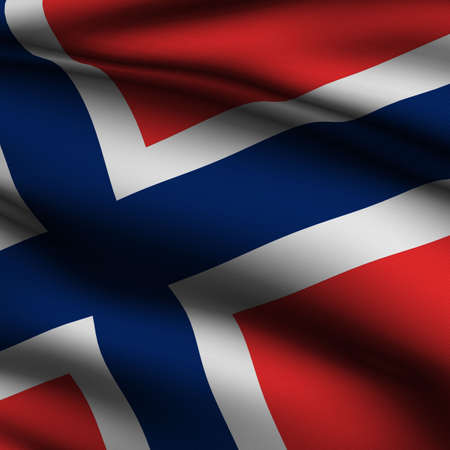 Rendering of a waving flag of Norway with accurate colors and design and a fabric texture in a square format. photo