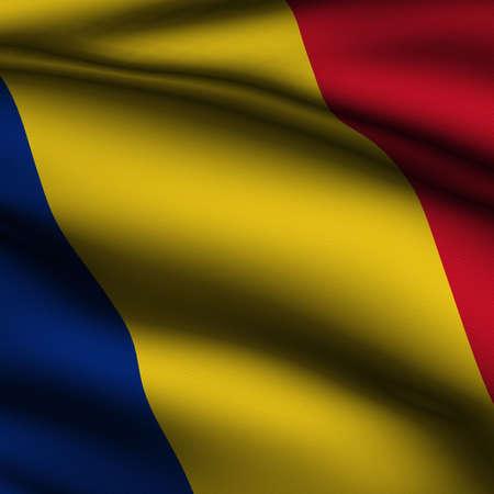 Rendering van een wapperende vlag van Roemenië met accurate kleuren en design en een weefsel textuur in een vierkant formaat.