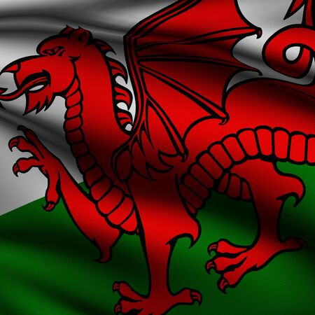 Rendering of a waving flag of Wales with accurate colors and design and a fabric texture in a square format.
