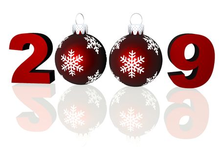 Rendered 2009 numbers with two red Christmas ornaments on a reflective surface. photo