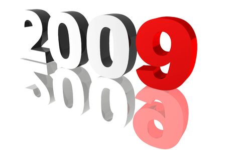 rendered: Rendered 2009 numbers on a reflective surface. Stock Photo