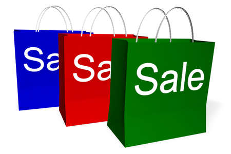 christmas shopping bag: 3d rendering of red, green, and blue shopping bags with the word SALE. Stock Photo