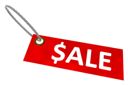 3d rendering of a price tag with the word SALE.