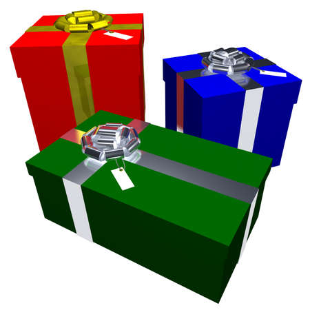 3d rendering of three Christmas presents isolated on a white background photo