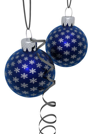 3d rendering of hanging blue glass Christmas ornaments with silver snowflakes isolated on a white background photo