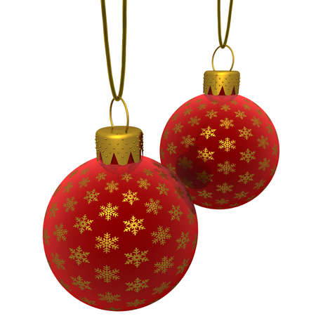 3d rendering of a hanging red glass Christmas ornaments with golden snowflakes isolated on a white background photo