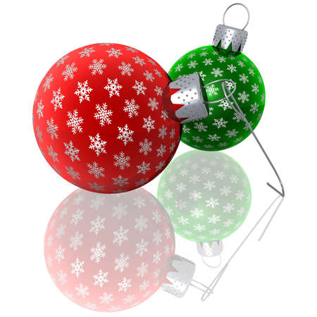 3d rendering of red and green glass Christmas ornaments with silver snowflakes lying on a reflective surface photo