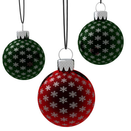 3d rendering of three hanging red and green glass Christmas ornaments isolated on a white background. photo