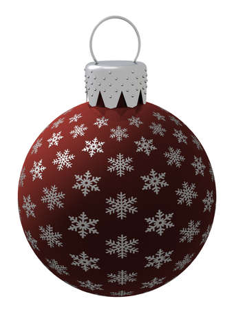 3d rendering of a red glass Christmas ornament isolated on a white background. photo