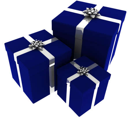 3d rendering of three presents wrapped in blue paper with silver bows isolated on a white background.