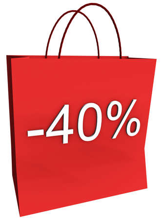 Rendered shopping bag indicating 40 percent off isolated on a white background. photo