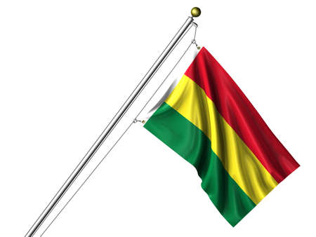 Detailed 3d rendering of the flag of Bolivia hanging on a flag pole isolated on a white background.  Flag has a fabric texture  photo