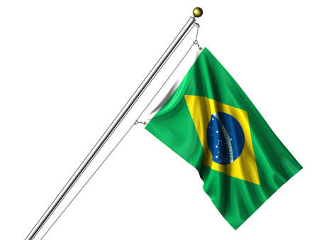 Detailed 3d rendering of the flag of Brazil hanging on a flag pole isolated on a white background.  Flag has a fabric texture