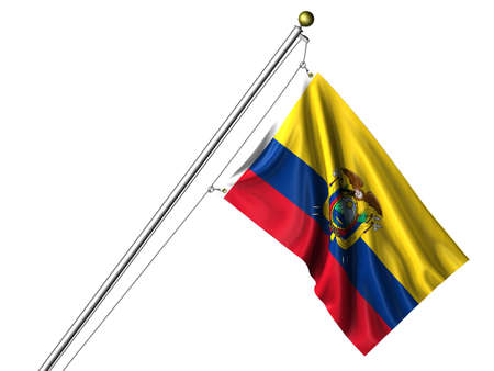 Detailed 3d rendering of the flag of Ecuador hanging on a flag pole isolated on a white background.  Flag has a fabric texture  photo