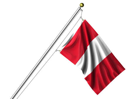 Detailed 3d rendering of the flag of Peru hanging on a flag pole isolated on a white background.  Flag has a fabric texture photo