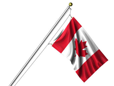 Detailed 3d rendering of the flag of Canada hanging on a flag pole isolated on a white background.  Flag has a fabric texture photo