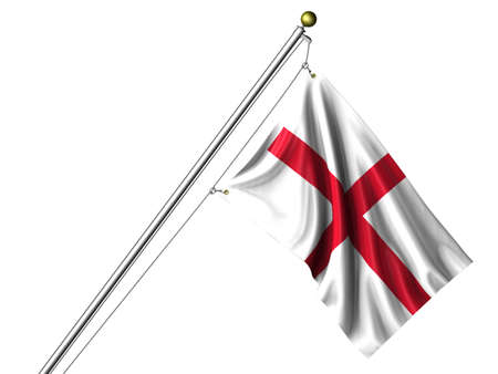 Detailed 3d rendering of the flag of England hanging on a flag pole isolated on a white background.  Flag has a fabric texture