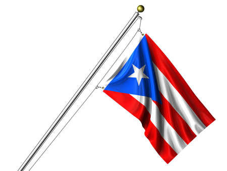Detailed 3d rendering of the flag of Puerto Rico hanging on a flag pole isolated on a white background.  Flag has a fabric texture  Stock Photo - 4134090