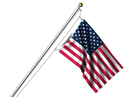 rendering: Detailed 3d rendering of the flag of the United States of America hanging on a flag pole isolated on a white background.  Flag has a fabric texture