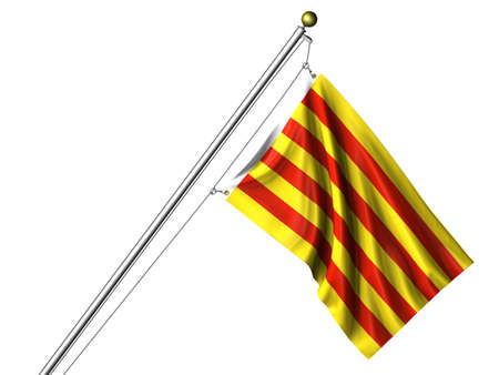 Detailed 3d rendering of the flag of Catalunya hanging on a flag pole isolated on a white background. Flag has a fabric texture and a path is included. Reklamní fotografie