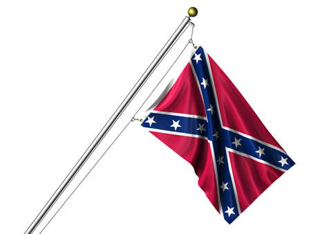 Detailed 3d rendering of the flag of the Confederacy hanging on a flag pole isolated on a white background. Flag has a fabric texture and a path is included. photo