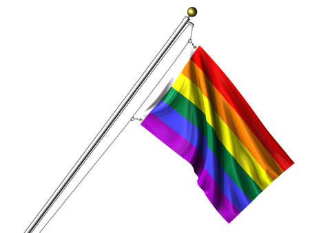 Detailed 3d rendering of the flag representing gay pride hanging on a flag pole isolated on a white background. Flag has a fabric texture and a path is included. Stock Photo