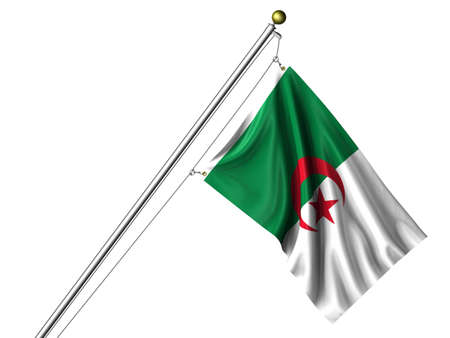 Detailed 3d rendering of the flag of Algeria hanging on a flag pole isolated on a white background. Flag has a fabric texture and a path is included. Stock Photo - 4232370