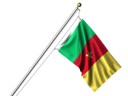 cameroonian: Detailed 3d rendering of the flag of Cameroon hanging on a flag pole isolated on a white background. Flag has a fabric texture and a path is included. Stock Photo