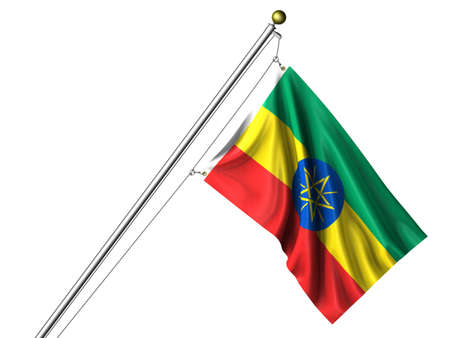 Detailed 3d rendering of the flag of Ethiopia hanging on a flag pole isolated on a white background. Flag has a fabric texture and a path is included. Stock Photo - 4232383