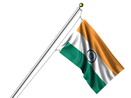 Detailed 3d rendering of the flag of India hanging on a flag pole isolated on a white background. Flag has a fabric texture and a path is included. Stock Photo - 4232377
