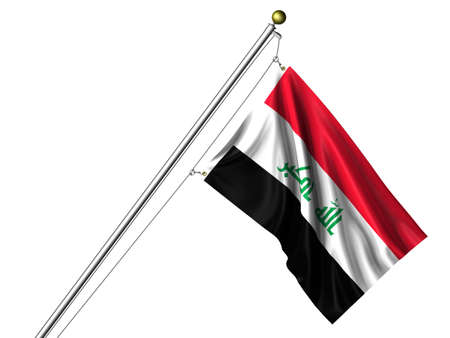 Detailed 3d rendering of the flag of Iraq hanging on a flag pole isolated on a white background. Flag has a fabric texture and a path is included. photo