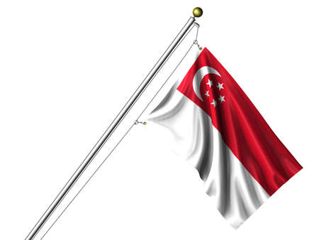 singaporean flag: Detailed 3d rendering of the flag of Singapore hanging on a flag pole isolated on a white background. Flag has a fabric texture and a path is included.
