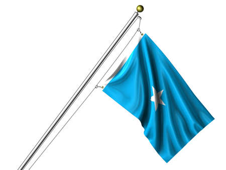 somalian: Detailed 3d rendering of the flag of Somalia hanging on a flag pole isolated on a white background. Flag has a fabric texture and a path is included.