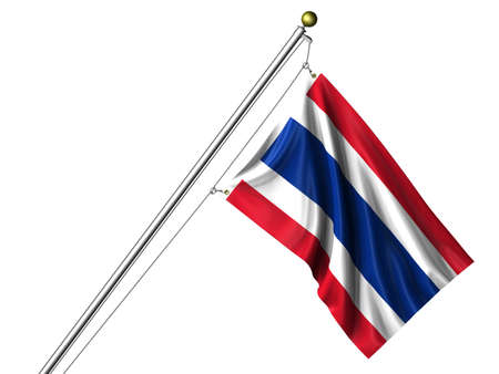 Detailed 3d rendering of the flag of Thailand hanging on a flag pole isolated on a white background. Flag has a fabric texture and a path is included. Stock Photo - 4295412