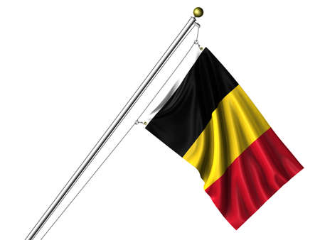 Detailed 3d rendering of the flag of Belgium hanging on a flag pole isolated on a white background.  版權商用圖片