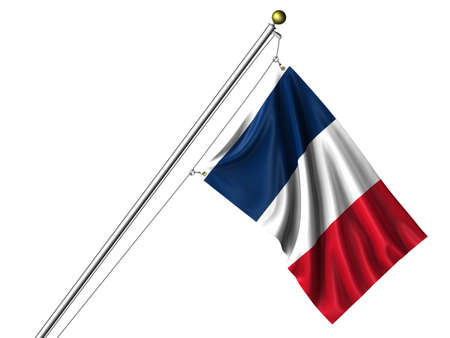 Detailed 3d rendering of the flag of France hanging on a flag pole isolated on a white background photo