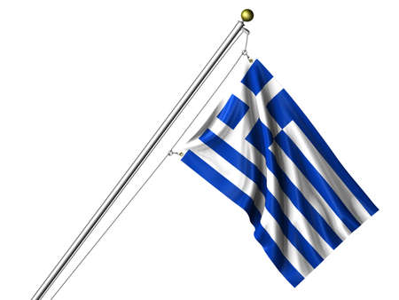 Detailed 3d rendering of the flag of Greece hanging on a flag pole isolated on a white background. Flag has a fabric texture and a path is included. photo
