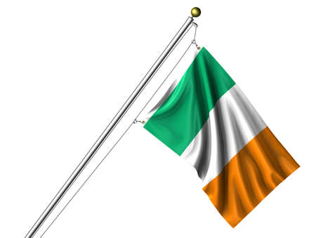 rendering: Detailed 3d rendering of the flag of the Republic of Ireland hanging on a flag pole isolated on a white background. Flag has a fabric texture and a path is included. Stock Photo
