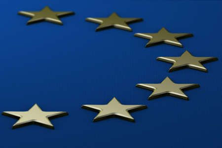 europeans: Detailed 3d rendering of the flag of the European Union with raised metal stars and a fabric texture. Stock Photo