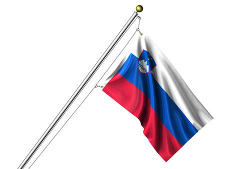 Detailed 3d rendering of the flag of Slovenia hanging on a flag pole isolated on a white background. Flag has a fabric texture and a path is included. Imagens