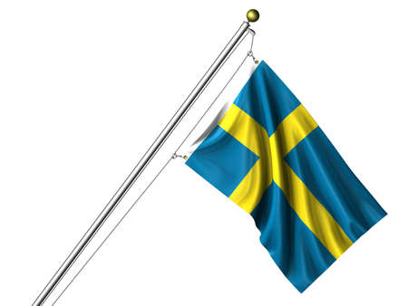 Detailed 3d rendering of the flag of Sweden hanging on a flag pole isolated on a white background. Flag has a fabric texture and a path is included. Reklamní fotografie