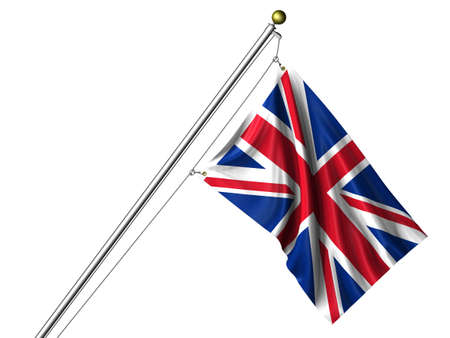 Detailed 3d rendering of the flag of the United Kingdom hanging on a flag pole isolated on a white background. Flag has a fabric texture and a path is included.