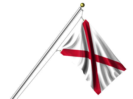 Detailed 3d rendering of the flag of the US State of Alabama hanging on a flag pole isolated on a white background.  Flag has a fabric texture Stock Photo - 4394546