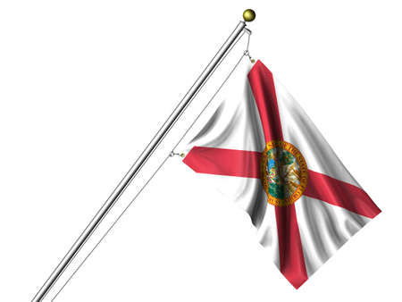 Detailed 3d rendering of the flag of the US State of Florida hanging on a flag pole isolated on a white background.  Flag has a fabric texture
